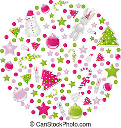 Ball Of Christmas Symbols And Elements, Isolated On White...