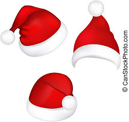 Three Santa Hats, Isolated On White Background, Vector...