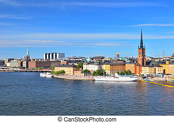 Stockholm. Island Riddarholmen - Stockholm. View of Island...