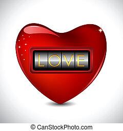 Combination Lock on Heart - illustration of combination lock...