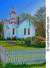 Small Country Church in Oysterville WA - This stock photo is...