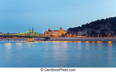 Budapest night view Long exposure Hungarian landmarks,...