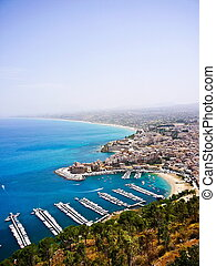 Italian sea side in Sicily - Aerial view for an harbor in...