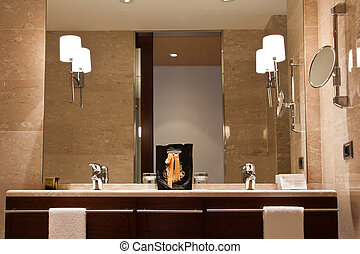 Luxury bathroom with twin wash basins