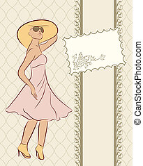 vintage girl with card, sketch style
