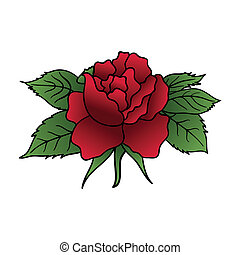 beautiful red rose isolated - Illustration beautiful red...