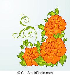 cute orange flowers isolated - Illustration cute orange...