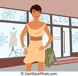 fashion shopping girl near shop