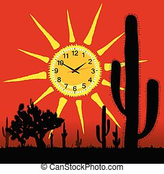 clock in the sun and cactus vector illustration