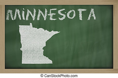 outline map of minnesota on blackboard - drawing of...