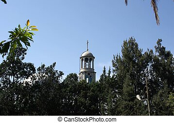 Steeple in Addis Ababa, Ethiopia - Steeple of an orthodox...