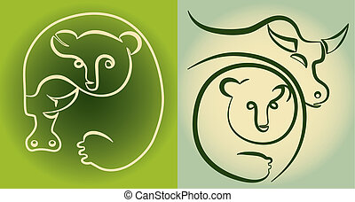 stock market: bull and bear - conseptual illustration