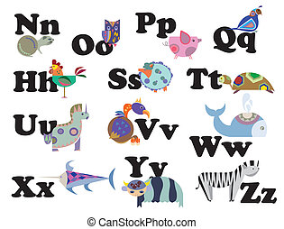 animal alphabet - Illustration of alphabet by animal...