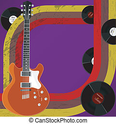 Vector  retro background with his guitar and vinyl records