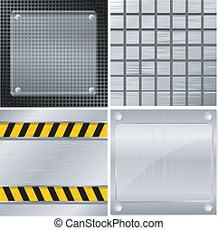 Collection of vector illustrations of metal plates