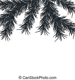 New Year's pine tree on a white background. Vector