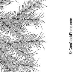 New Years pine tree on a white background Vector