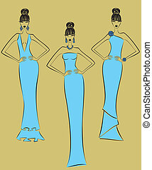 Fashion Models - Vector illustration of three fashion models...