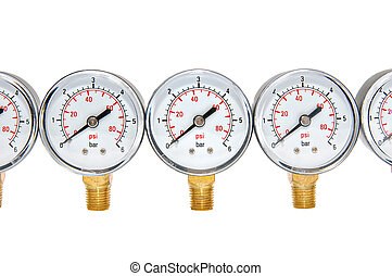 Manometers for pressure measurement on a white background