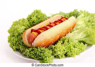 hot dog over lettuce. photography