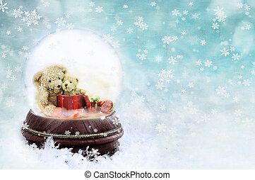 Teddies in a Snow Globe - Note to reviewer: Toys are generic...