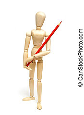 Artist Mannequin - A wood mannequin holds a red pencil...