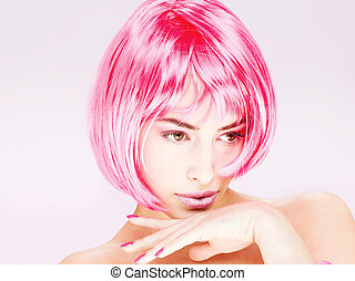 pretty pink hair woman - Portrait of a pretty young pink...