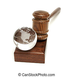 Globe and Gavel - A globe rests near a gavel for worldly...