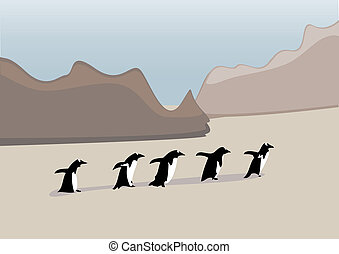 Penguins in a row - Simple penguin vector lined up in a row...