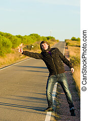 Hitchhiker - Hitchhiking youngster quite desperate to get a...