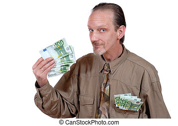 Slick businessman waving cash - Slick and alternative senior...