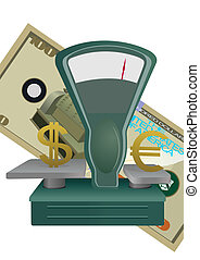 Exchange rate - Commercial scales against money bills. An...