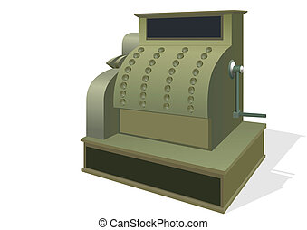 The old cash register. The illustration on a white...