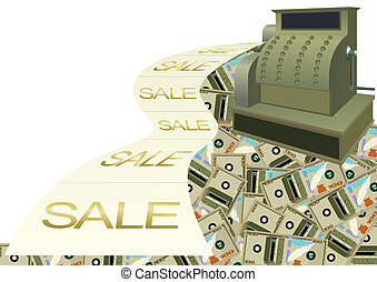 Cash and bank notes - Cash register and cash register tape...