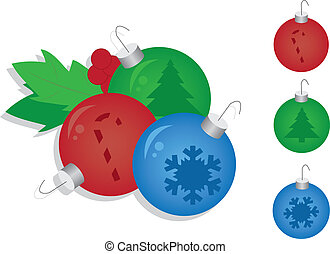 Christmas Ornaments - Three Christmas ornaments ready to...