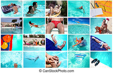 Summer Collage - Summer leisure - People in the swimmingpool...