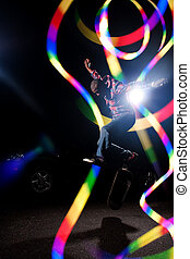 Skateboarder with Abstract Light Trails