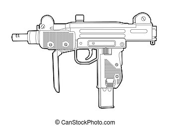 Outline uzi - Outline vector uzi on white background