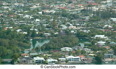 Surburbia - Aerial shot of a typical Gold Coast suburb with...
