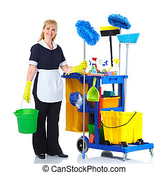 Cleaner maid woman - Cleaner maid woman with janitor cart...