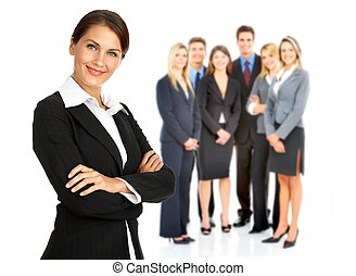 Business woman and group of people Isolated over white...