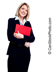 Young business woman - Young secretary business woman with...