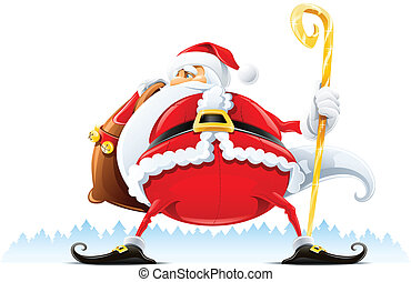 Santa Claus with sack and staff vector illustration isolated...
