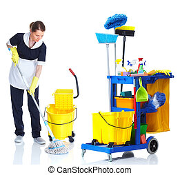 Cleaner maid woman washing floor - Cleaner maid woman with...