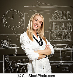 young businesswoman with crossed hands - Beautiful European...