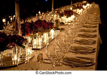 elegante, tavola, regolazione