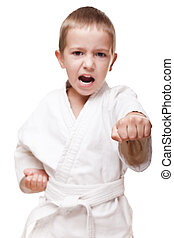 Child boy in kimono training karate - Martial art sport -...