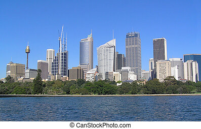 Sydney Skyline - Skyscrapers of Sydney. Clear blue sky.