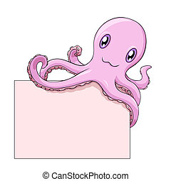 Octopus holds a blank - Pink smiling cartoon octopus holds a...