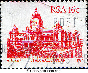 Stadsaal, Durban - SOUTH AFRICA - CIRCA 1982: A stamp...
